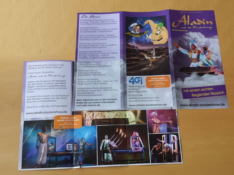 Flyer Aladin-Zaubershow
