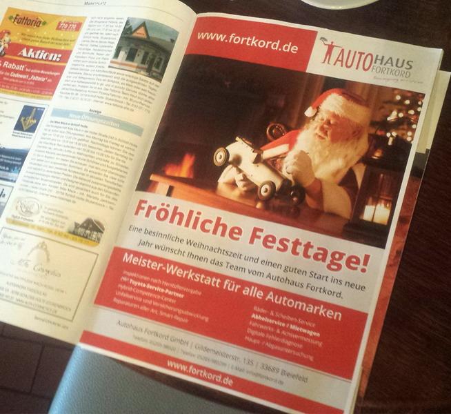 Weihnachts-Anzeige für die regionalen Blätter