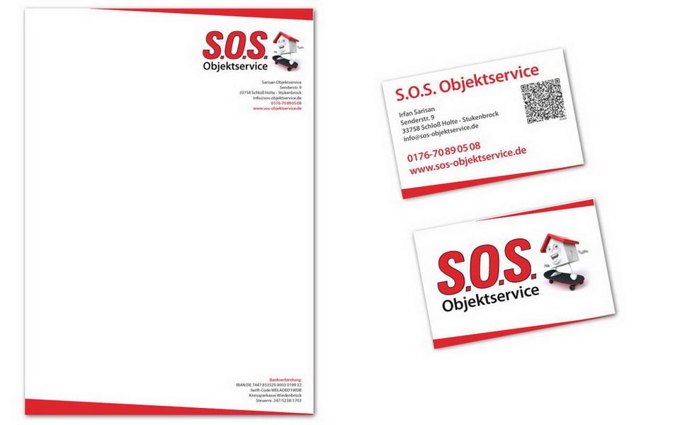 Logo, Visitenkarte und Briefbogen für S.O.S. Objektservice