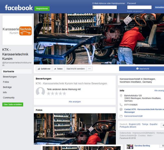 Facebook-Page für Karosserietechnik-Kursim aus Steinhagen