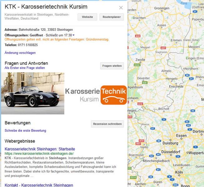 Google Mybusiness (Maps)-Eintrag für KTK aus Steinhagen