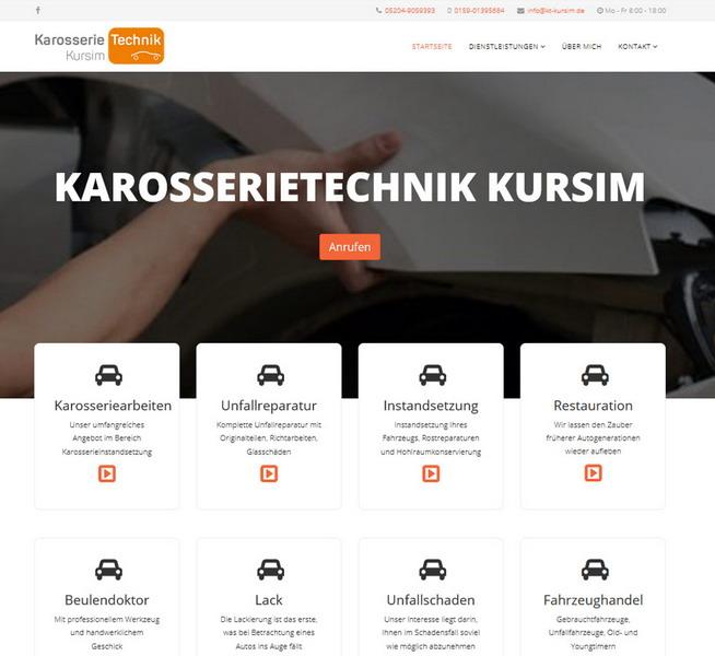 Website für den Karosseriebauer Kursim aus Steinhagen