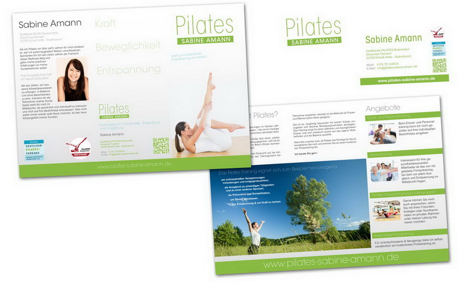 Pilates-Training Flyer und Visitenkarte