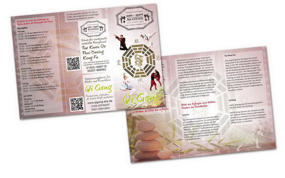 Flyer für Qi-Gong und die Asia-Sport-Akademie